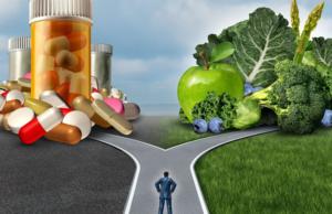 Man deciding between medication and food