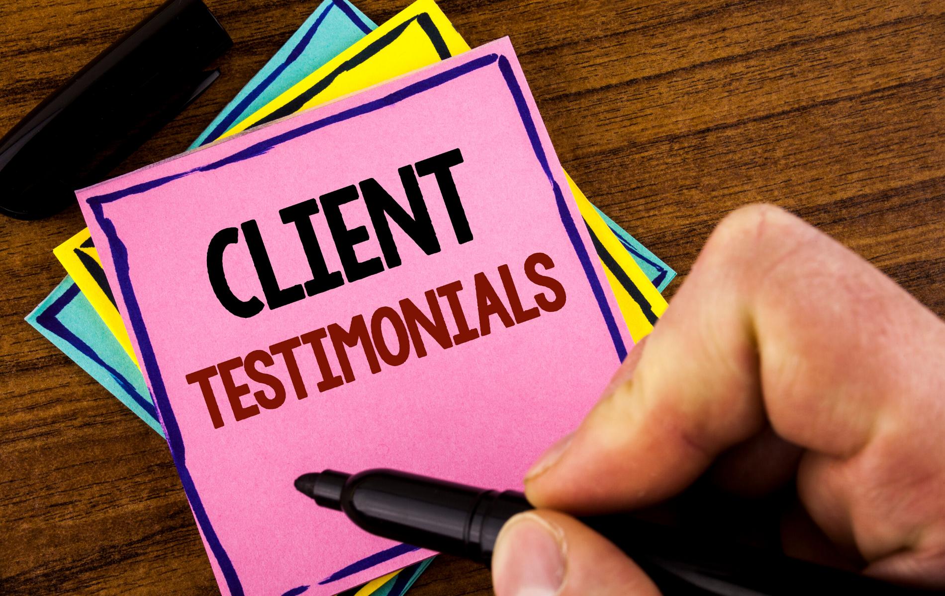 Image of Client Testimonials written on post it